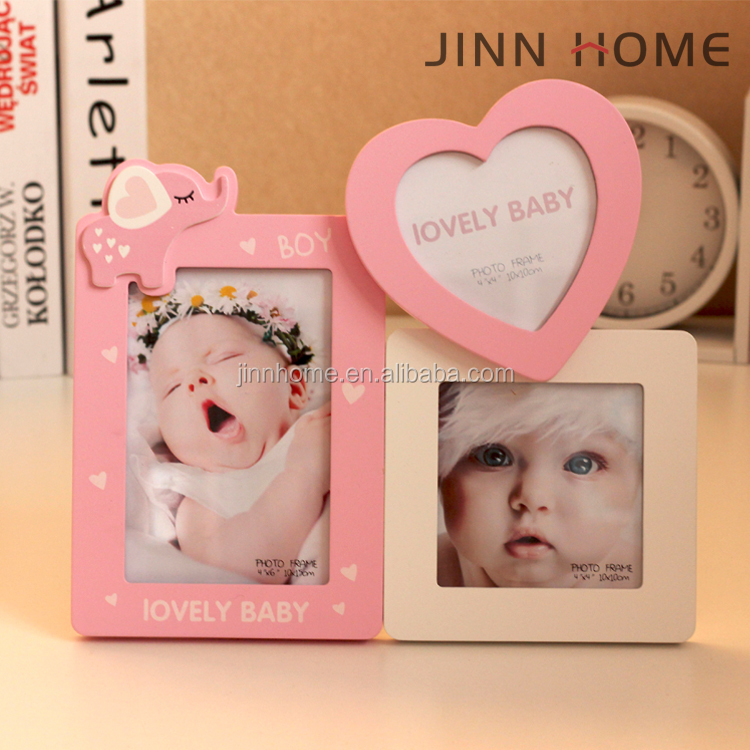 Jinnhome colourful girl finish pink heart shape lovely elephent design 3 in 1 wood photo frame for baby new born