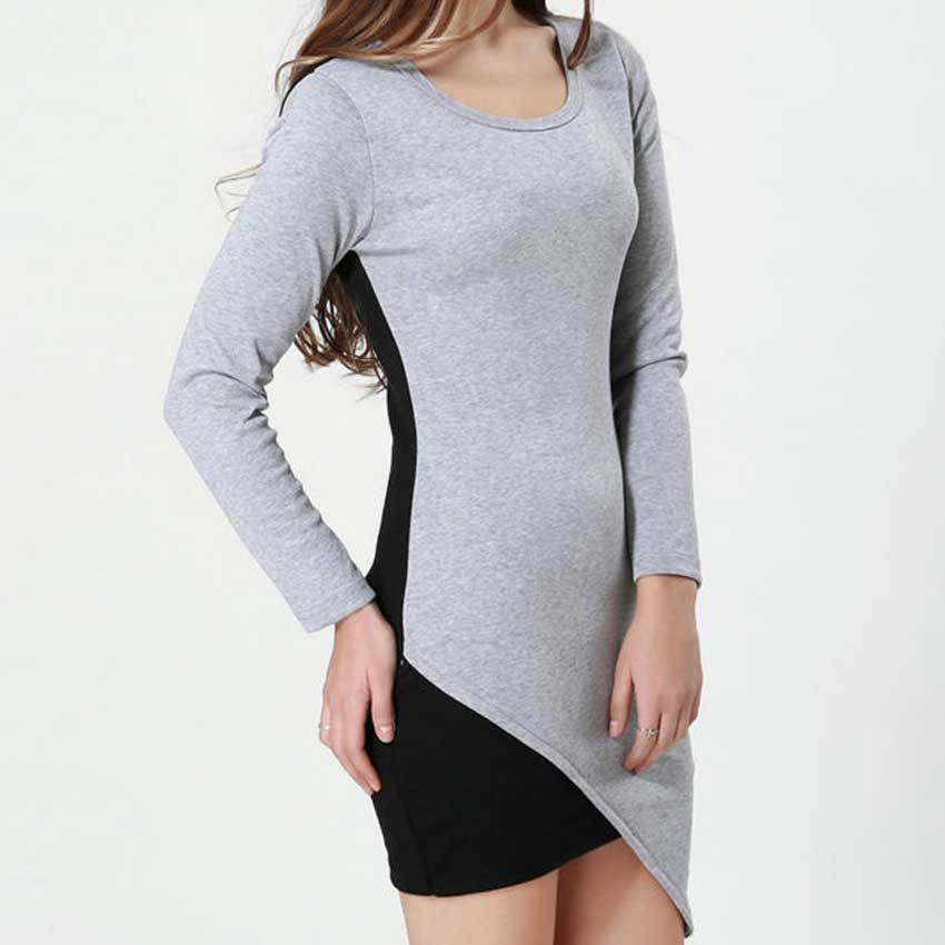 2015 Autumn Winter All-match Contrast Color Cotton Dress Women Round Neck Long Sleeve Patchwork Casual Dress