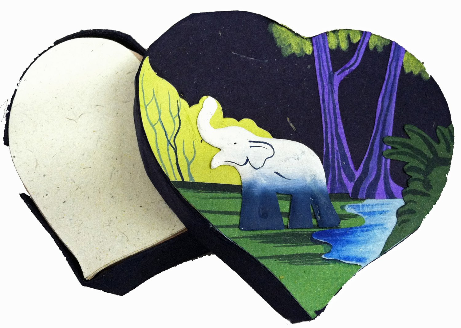 Mr. Ellie Pooh Dark Blue Heart Shaped Note Box with Notes (160-855301003843)