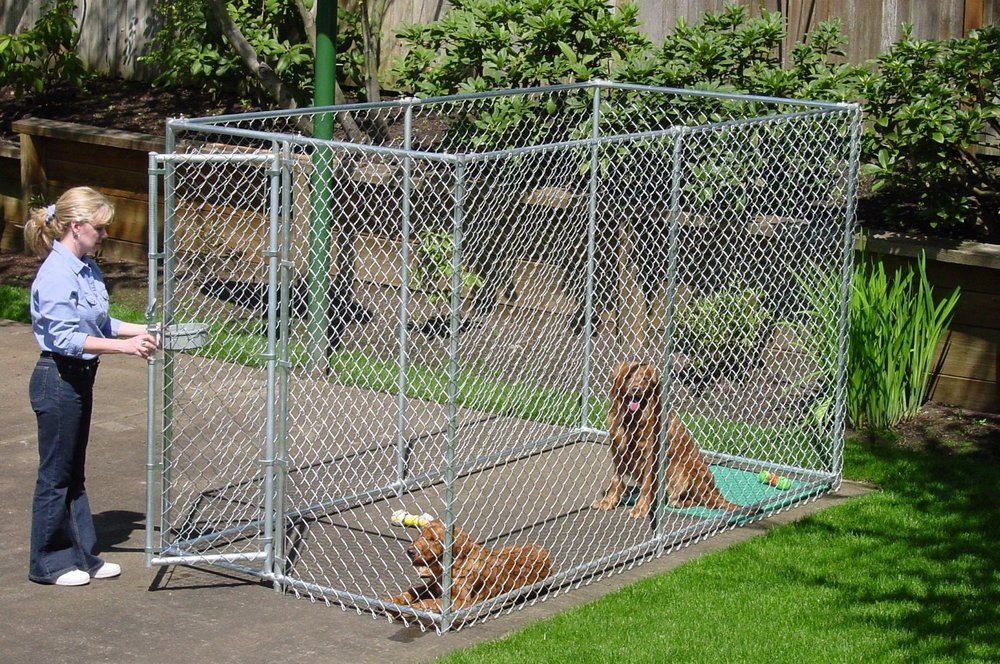 Chain link fence kennel for dogs dog kennel supplies for Recinto in legno per cani