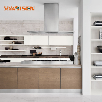 Wood Veneer Modern Kitchen Cabinets