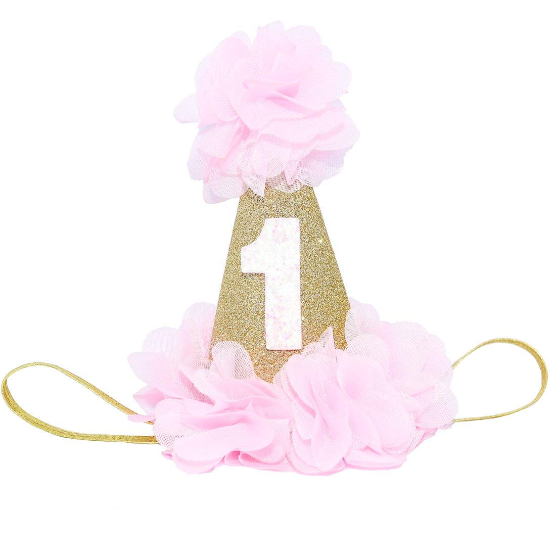 Get Quotations Maticr Sparkly Baby First Birthday Cone Hat With Blush Chiffon Embellished Flowers For Cake Smash