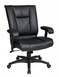 Avenue 6 Office Star EX9381-3 Deluxe Mid Back Executive Deluxe Coated Black Leather Chair with Pillow Top Seat and Back