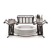 De Metal Buffet utensilio <span class=keywords><strong>Caddy</strong></span> 2PCS apilable Buffet <span class=keywords><strong>Caddy</strong></span> negro antiguo conjunto F0201