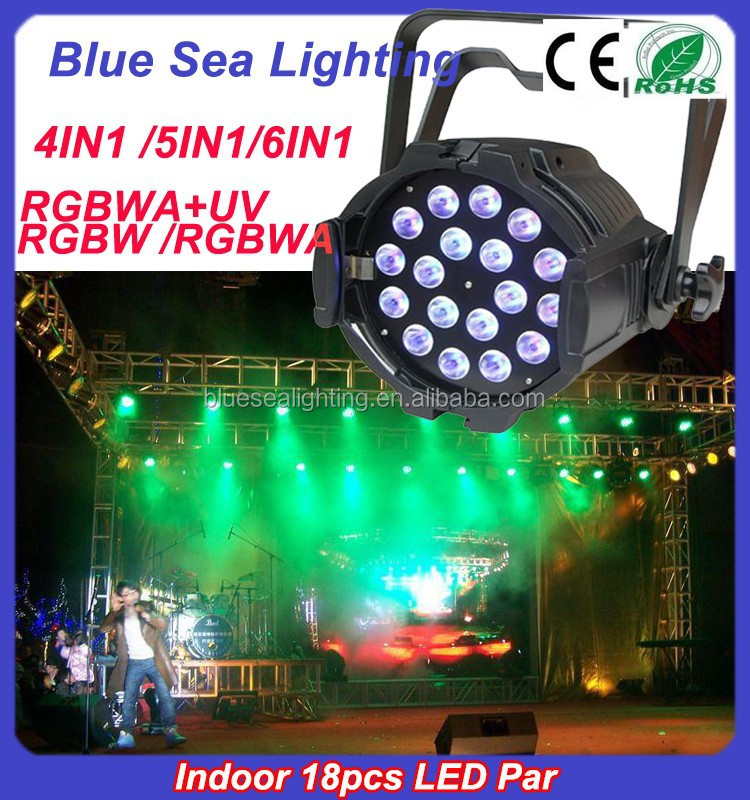 18*18W led PAR rgbwa uv led par can light DMX Stage Lighting dj effect light disco