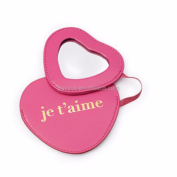 Factory custom-made Exquisite heart pocket mirror with pu pouch for gifts