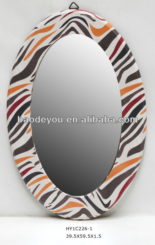 zebra-stripe oval wall hanging mirror