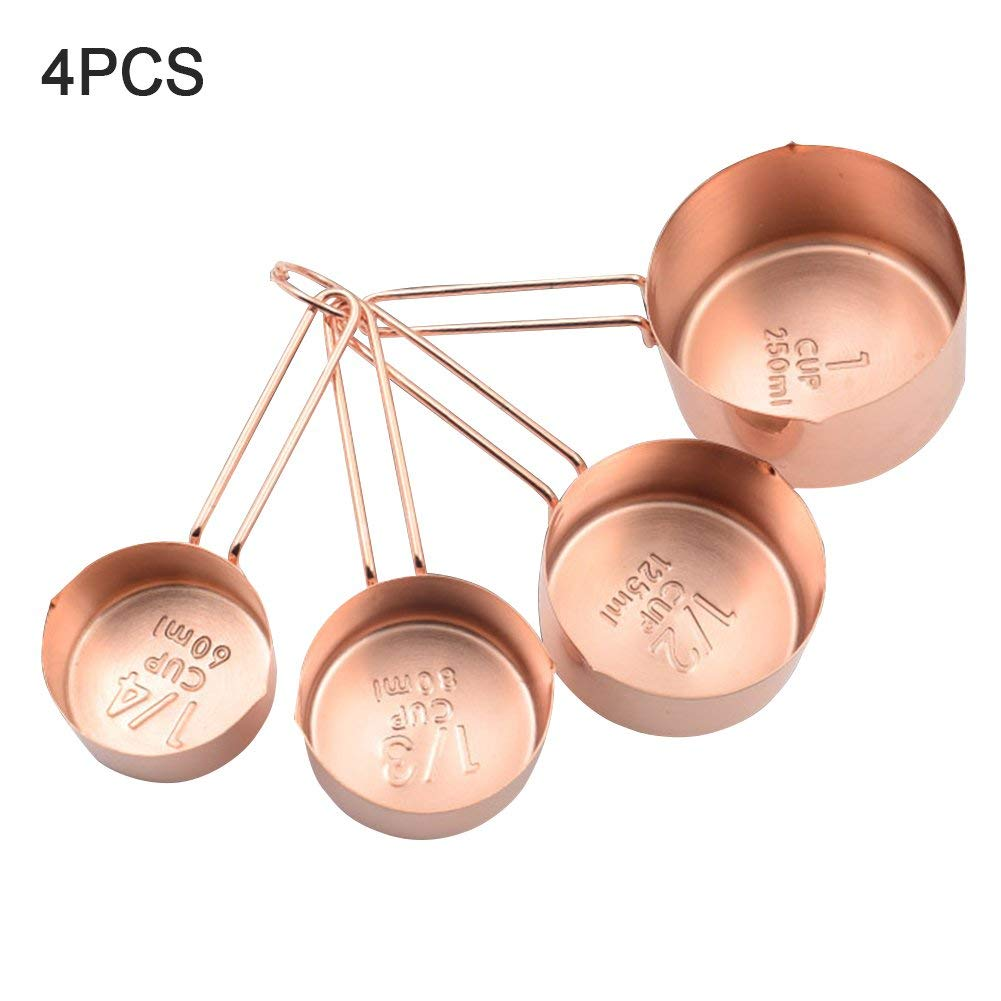 4Pcs Stainless Steel Measuring Cups and Spoons Set Measurements, Pouring Spouts Heavy Duty Mirror Polished for Baking and Cooking