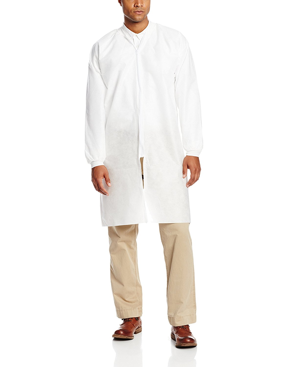 ValuMax NPZ3660WH2XL Zipper Front, No Pocket, Extra-Safe, Wrinkle-Free, Disposable SMS Knee Length Lab Coats, White, 2XL, Pack of 10