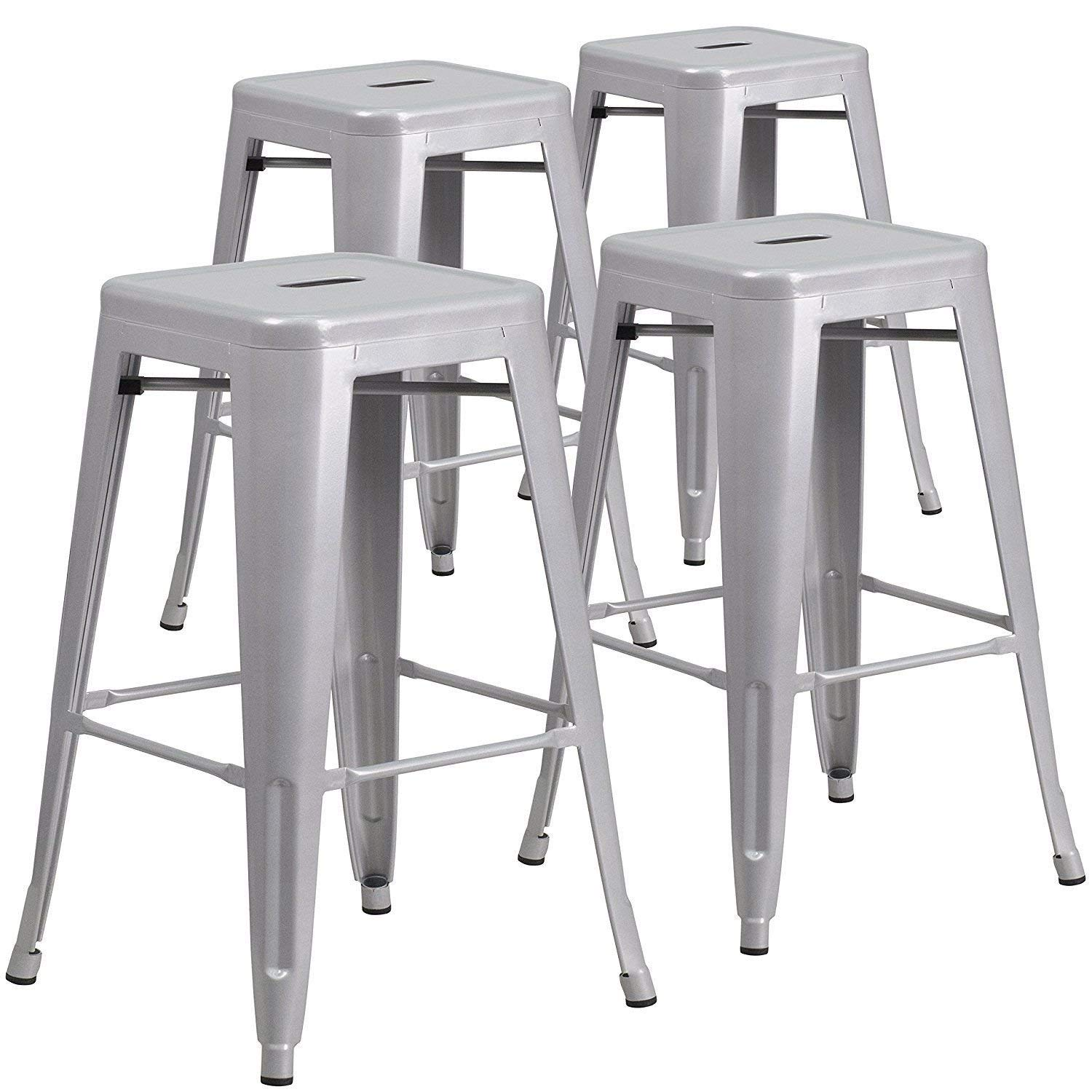 "Globe House Products GHP 4-Pcs 330-Lbs Capacity 26""x17""x17"" Silver Backless Counter Height Bar Stools"