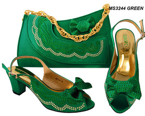 Mikemayacll Fashion African Wedding green Shoes and Matching Leather Bag Set in Multi Colors