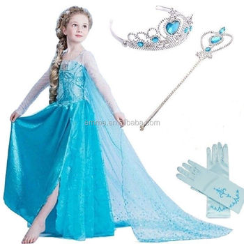 Frozen Elsa Party Supplies Dress Blue Fancy Dress Gown Crown Tiara ...