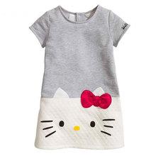 Olá Kitty Meninas Do Bebê Veste Crianças Roupas 2016 Crianças Vestido Para Meninas Roupas de Natal Vestido De Princesa Vetement Fille
