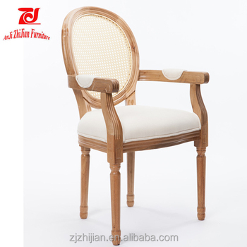 Solid Wood French Provincial Arm Chair Fabric Upholstered Dining ...