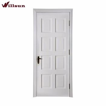 Rustic American Style Eight Panel Square Top Door White Primed Door
