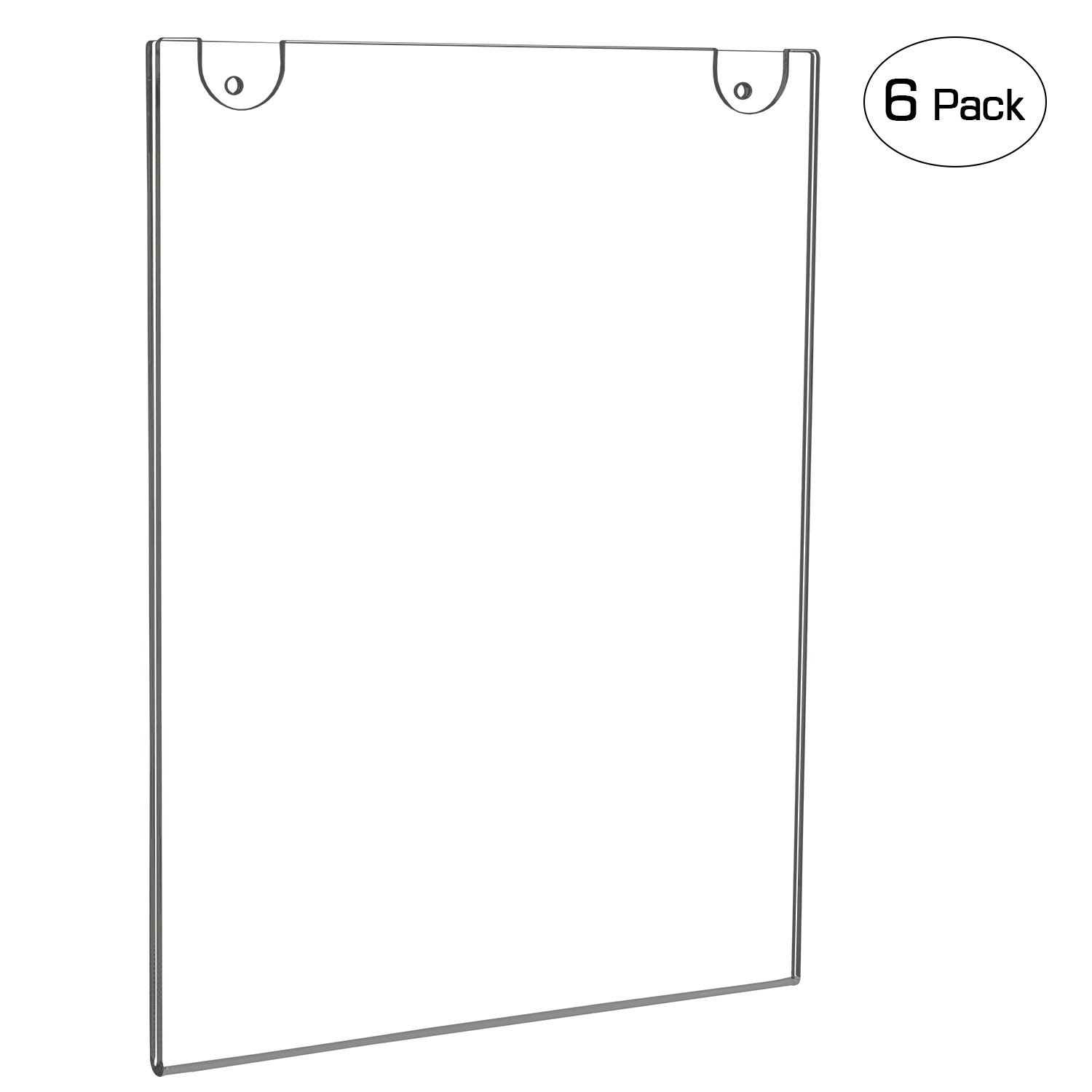NIUBEE Acrylic Wall Mount Sign Holder 8.5 x 11 Inch- Clear Ad Frames for Papers- Vertical (6 Pack)