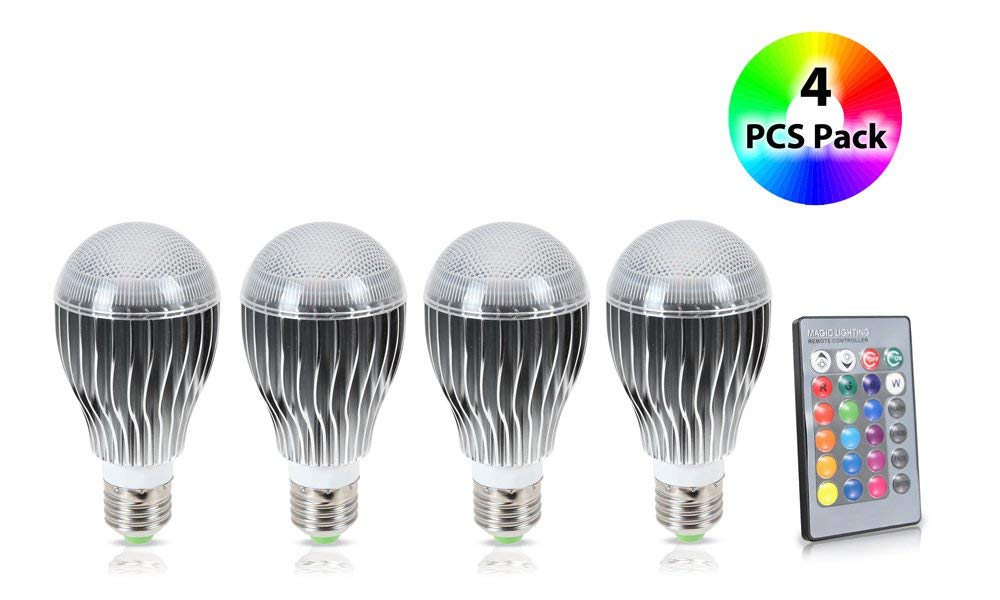GPCT LED 9W Color Changing Bulb with 64 Levels of Brightness/Color Combinations and 5 Lighting Modes - 4 Pack