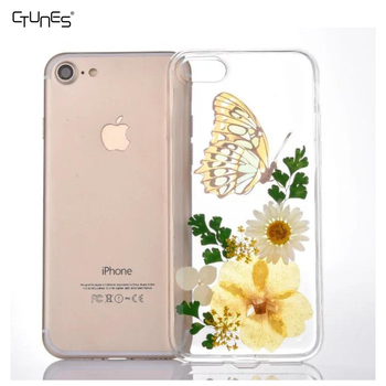 8240f42a46da76 Handmade Floral Real Pressed Dried Flowers TPU Gel Rubber Skin Protective  Plastic Soft Phone Case Cover