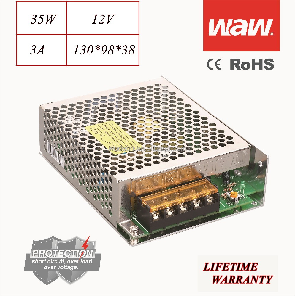 S-35 12V 35W 110V/220V wide voltage AC/DC Switching Power Supply driver for CCTV system LED stripe 3D printer with CE ROHS