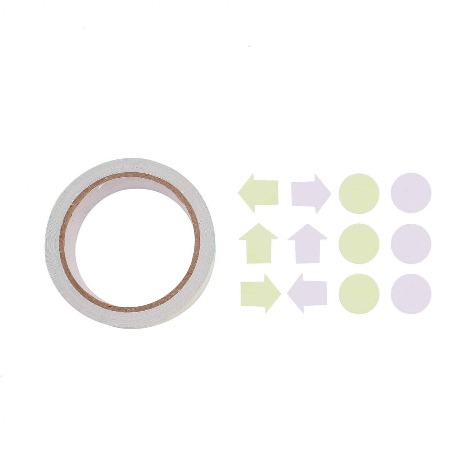 HUELE Glow Tape in the Dark Glow in the Dark Luminous Tape Sticker Fluorescent tape Waterproof Masking with 24 Pieces Luminous Dot Tape and Arrow Sticker