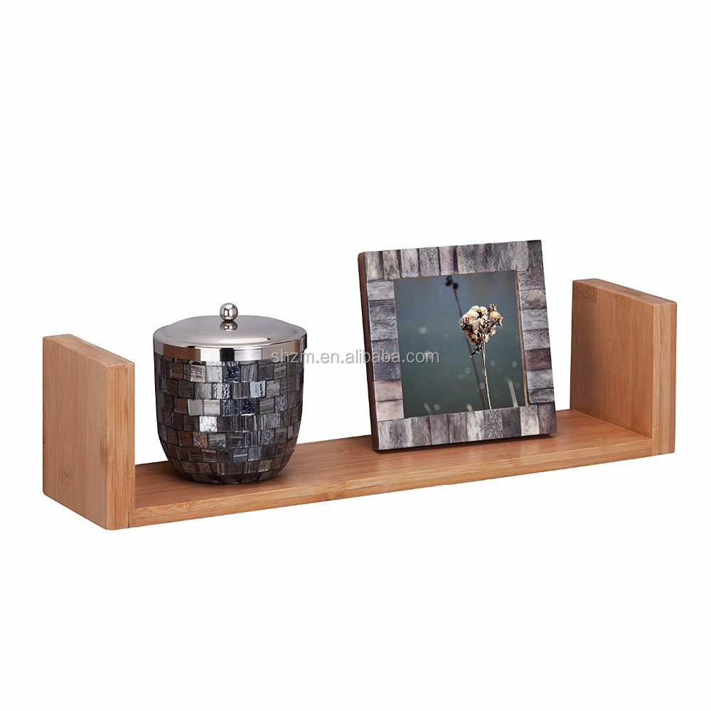 Modern Home Bamboo Floating U Shape Solid Wod Wall Shelf,Totally ...