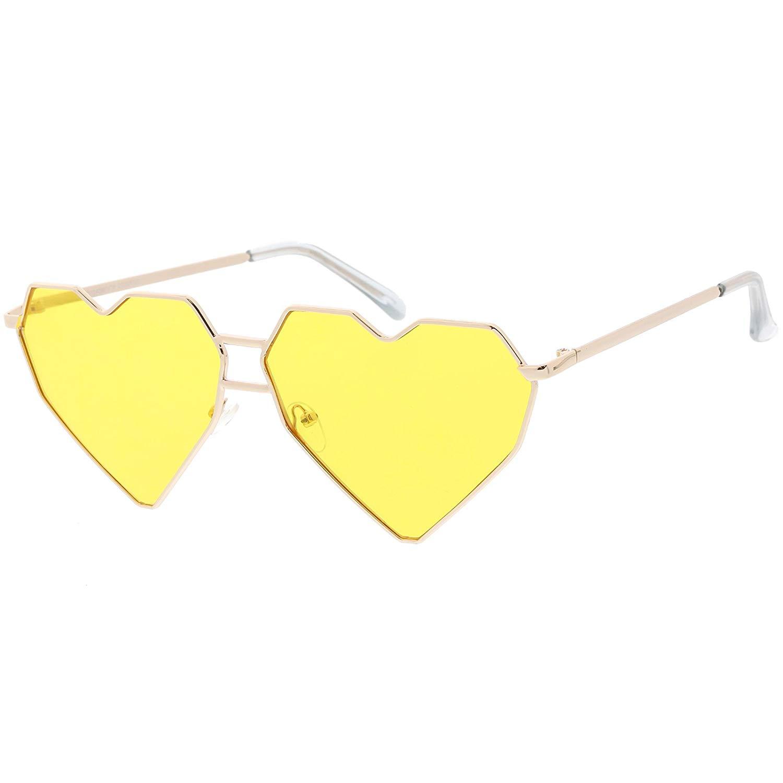 598f6a1aaa Get Quotations · sunglassLA - Oversize Geometric Heart Sunglasses Double Nose  Bridge Color Tinted Flat Lens 62mm