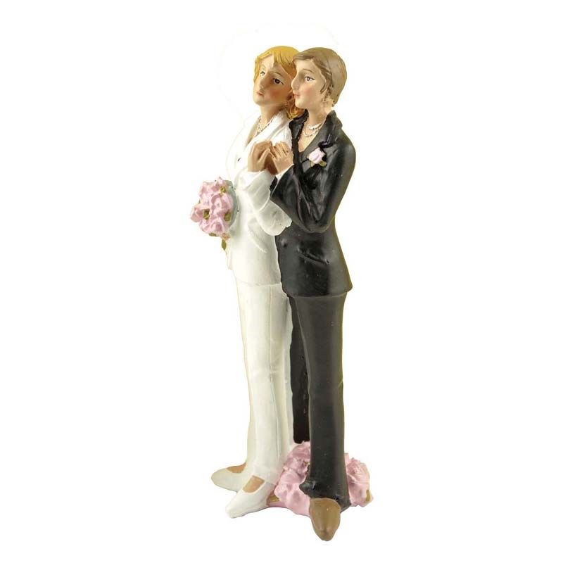 Polyresin female gay wedding figurine cake toppers