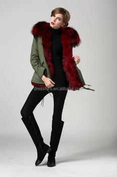 fur lined hooded coat winter furs coat wine red women high fashion top  quality women coat 76fd99c5b