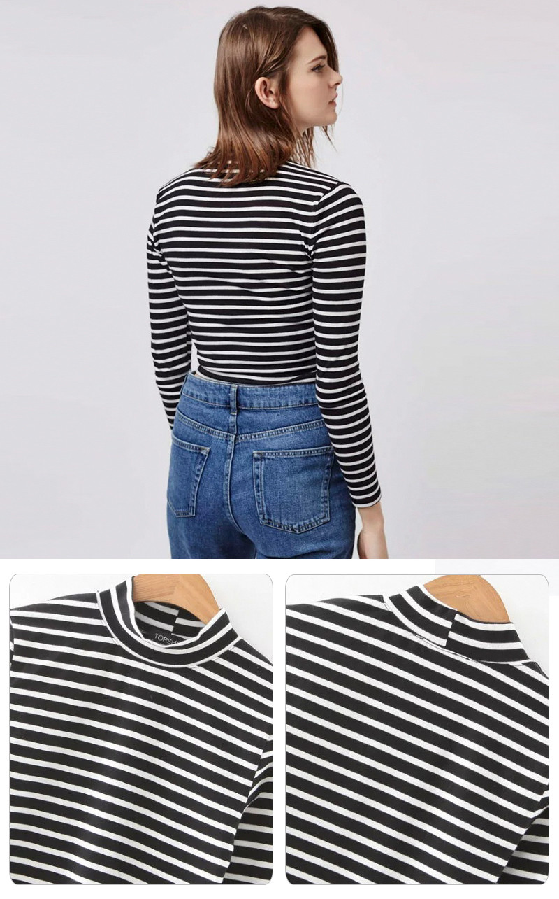 New Style Women Black Stripe Stand Collar Long Sleeve T- shirt Wholesale China