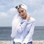 Fashion plain white crinkle muslim turban hijab cotton eyelash scarf