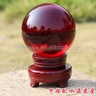 Red K9 Crystal Glass Marble Ball With Wooden Base