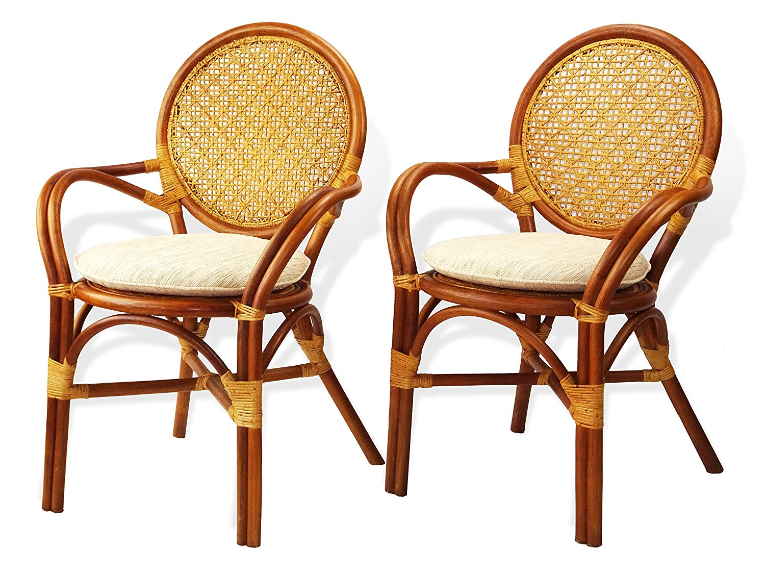 Get Quotations · Set Of 2 Denver Dining Arm Chairs Design ECO Handmade Rattan  Wicker Colonial