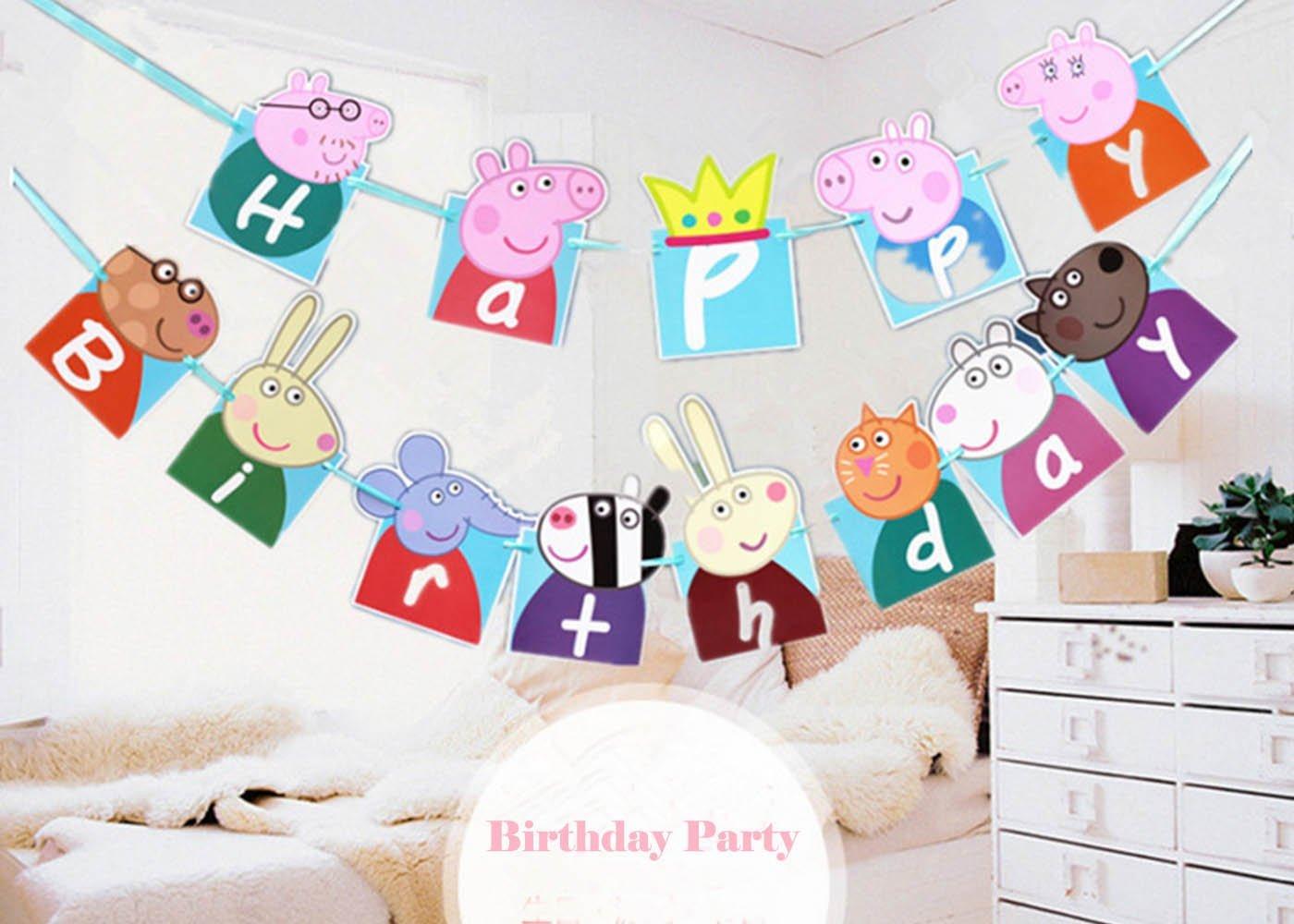 Buy Efivs Arts Cute Peppa Pig Theme Party Decorative Happy Birthday