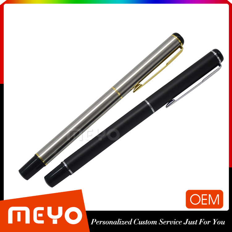 Business gift set 2 pcs metal capped ball pen with custom logo