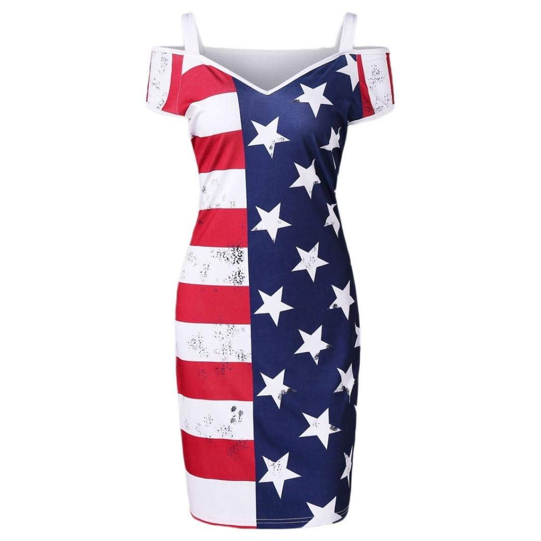 88d160f146b9 Get Quotations · Gyoume American Flag Dress
