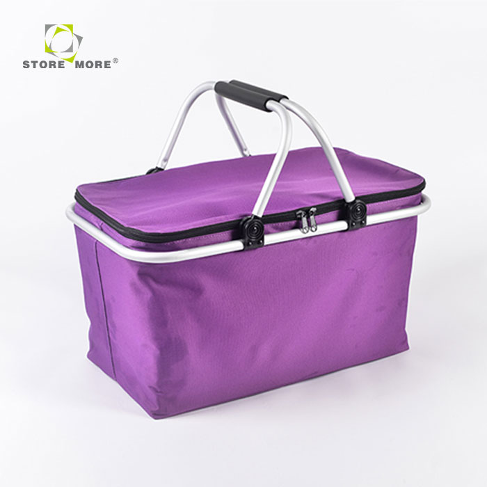 Best Price EPE attached aluminum foil lining mini picnic basket, folding picnic basket