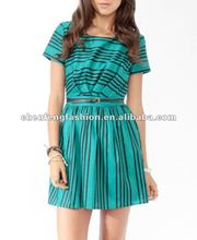 Contrast Striped Dress w/ Belt CFF0115