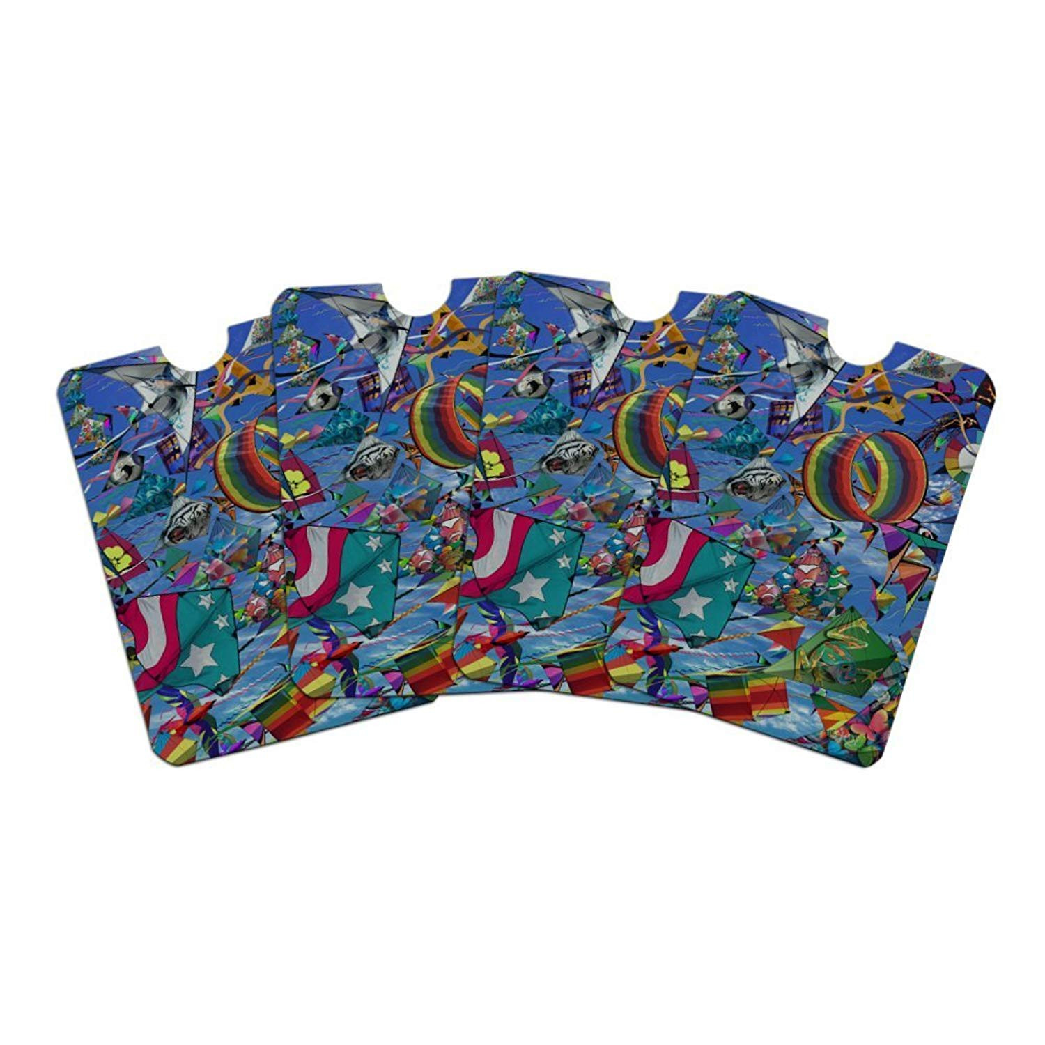 Kites Flying Riding The Wind Credit Card RFID Blocker Holder Protector Wallet Purse Sleeves Set of 4