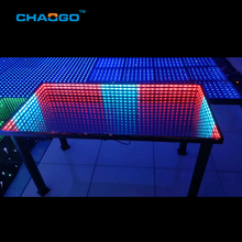 Afstandsbediening rgb kleur led light up restaurant eettafel 3d tunnel effect infinity mirrored glas cafe <span class=keywords><strong>teller</strong></span> tafel