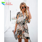 YIZHIQIU kimono chiffon beachwear women cover up dress