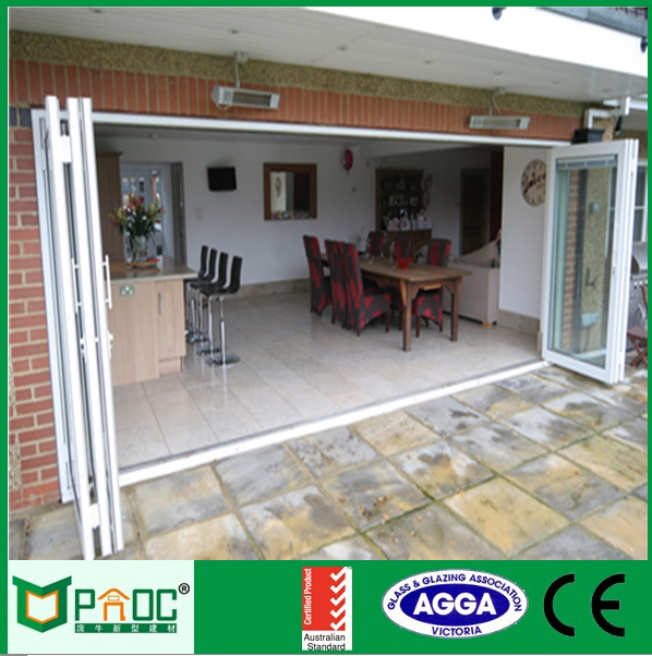 Aluminium bathroom folding door|Aluminum exterior glass folding door PNOC0021BFD