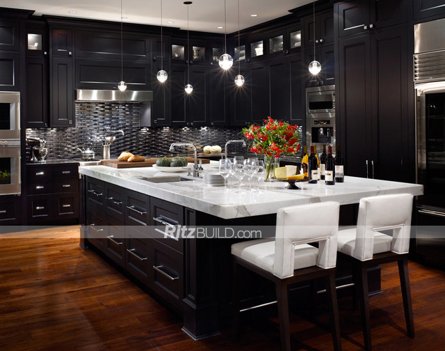 Black Shaker Style Island,Wood Construction Shaker Style Kitchen ...
