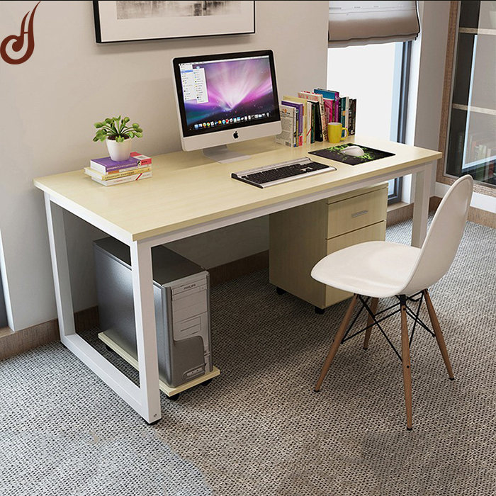 Customized size FR-MDF PD and iron material modern unique white office desk