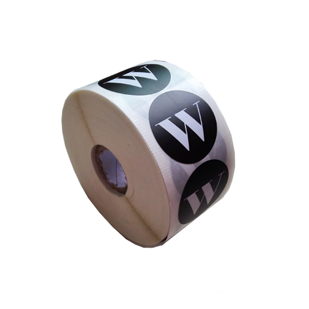 Simple custom company logo printed tissue seal roll sticker matte black round stickers