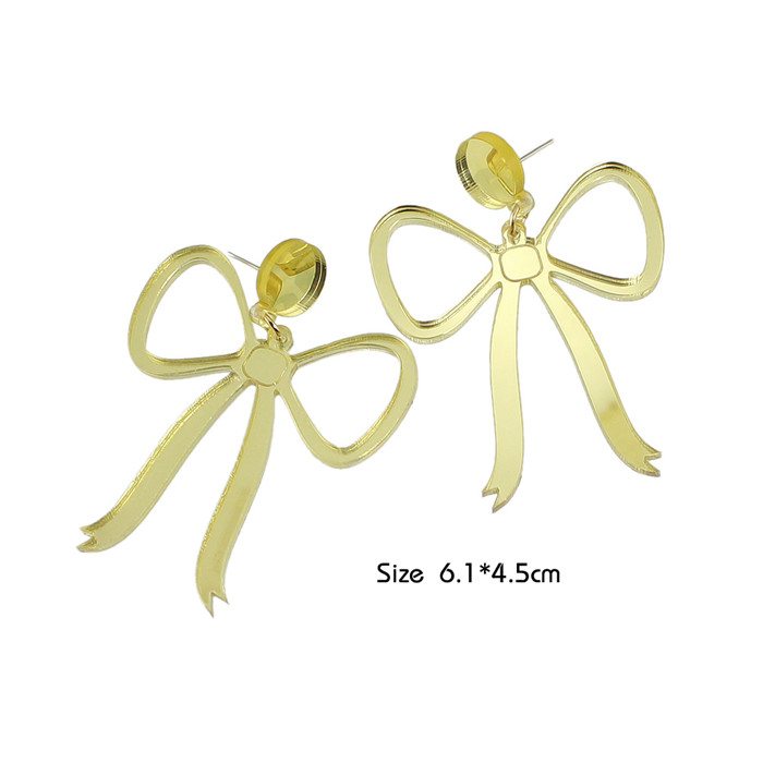 Free Shipping Gold Color Bowtie Shape Big Stud Earrings