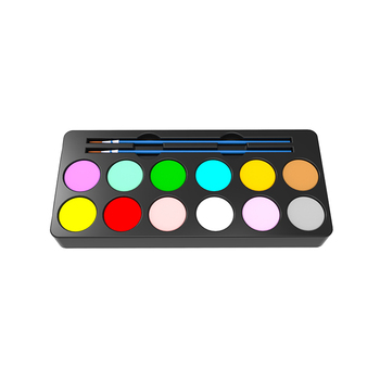 LOW MOQ multi color face paint supplier, Washable non-toxic 12color face painting palette with body tattoo stencil