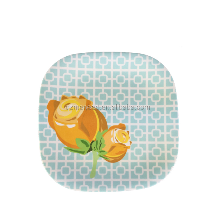 China factory supply sale price homeware square melamine rose plate