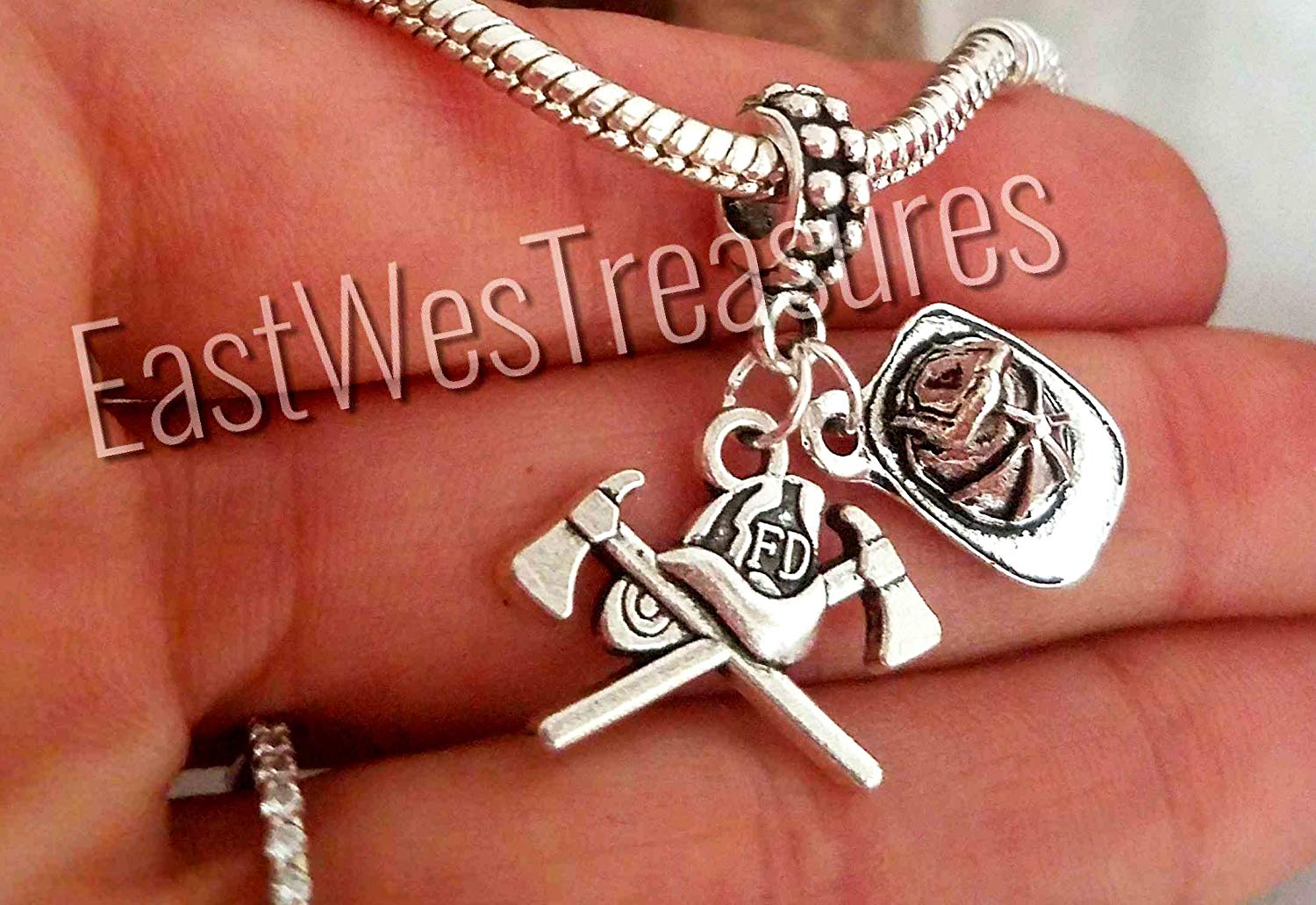 30815a40f Get Quotations · EWT Firefighte,r Fireman, Helmet, Jewelry Gift Charm  Pendant for fit all brad