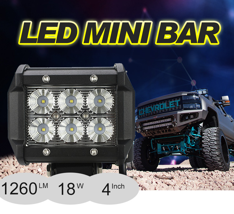 2019 Waterproof mini 4 inch 18w Car LED Light Bar Off Road LED Driving Light Bar
