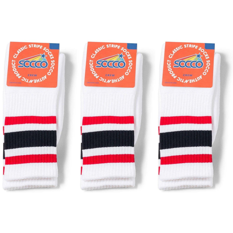 2c94aa57e00ab Get Quotations · Socco Socks Unisex White Triple Striped Red/Black Crew  Tube Socks Bundle of 3 Pairs
